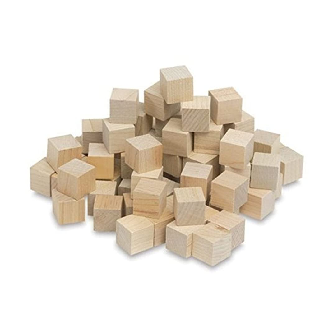 "1/2 Inch Wood Cubes, Natural Unfinished Craft Wood Blocks (1/2"") - by Craftparts Direct - Bag of 100"