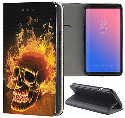 KUMO Hülle für Xiaomi Redmi Mi Note 10 Pro Handyhülle Design 1479 Totenkopf Skull Feuer aus Kunstleder Schutzhülle Smart Cover Klapphülle Handy Hülle Hülle für Xiaomi Redmi Mi Note 10 Pro
