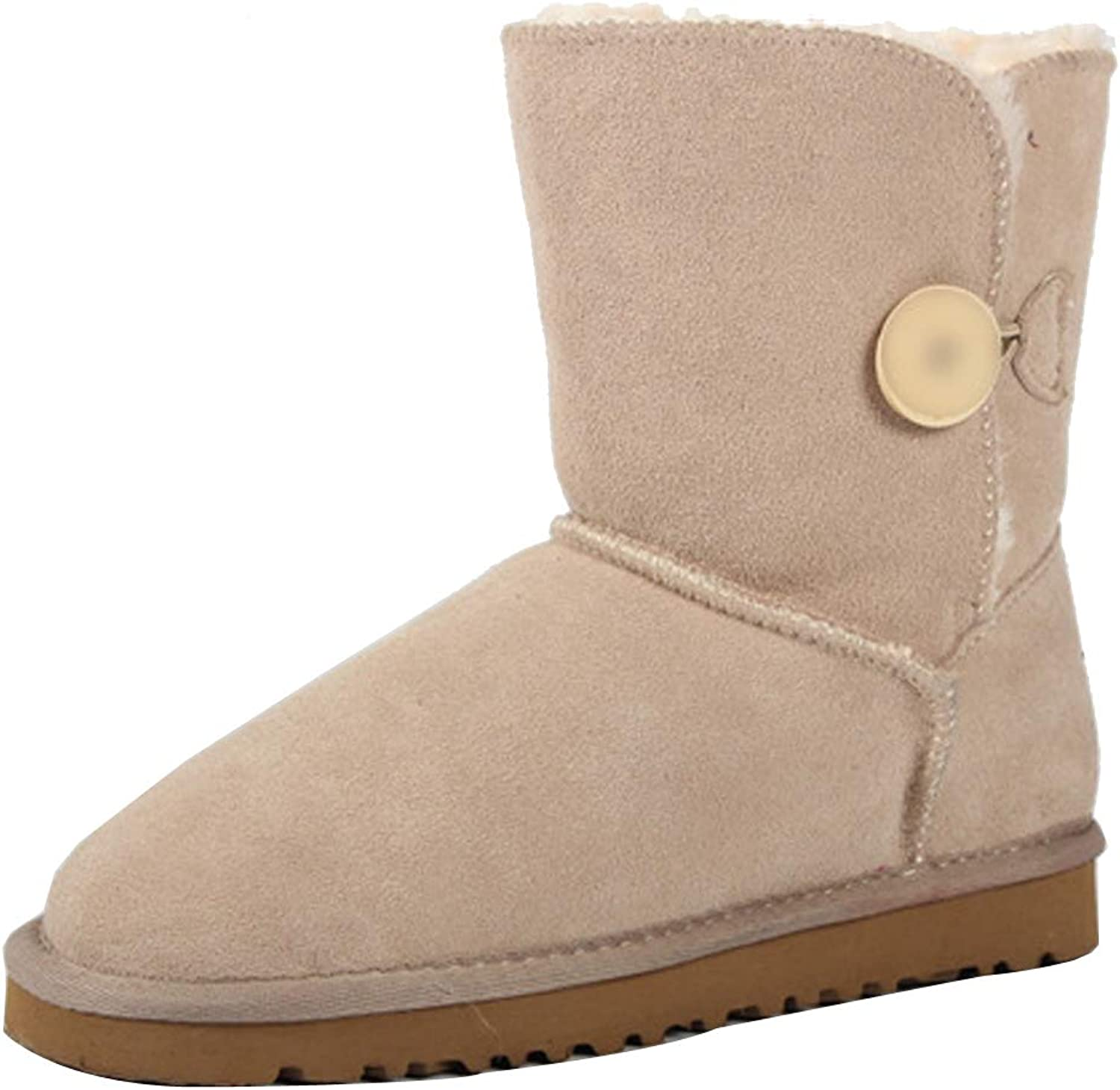 Themost Snow Boots Women's Suede Leather Sheepskin Fur Lining Winter Boot Walk Ankle Booties Beige