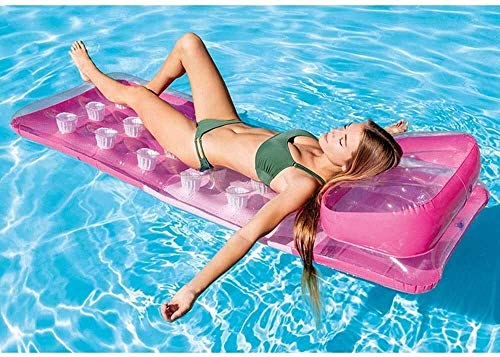 Klapppool, Wasser aufblasbare Matratze, PVC aufblasbare Spielwaren schwimmende Reihenflocken Schwimmboden im Freien Schwimmbad, Wasserspielzeug Party Spielzeug (Farbe: grün) Peng (Farbe: Rosa) mei