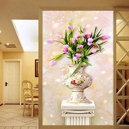 K-ONE 3D Stereo Relief Jade Tulip Jarrón Wallpaper Columna Romana Entrada Mural Sala de Estar El Estilo Europeo Decoración del hogar Papel Pintado