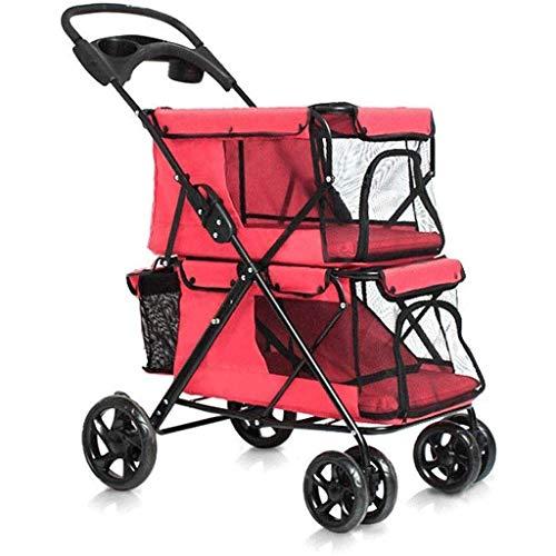 ADHW - Passeggino pieghevole a doppio strato, 4 ruote per cani e gatti di piccola e media taglia, grande spazio con trasportino staccabile, carico massimo 20 kg (colore, rosa), rosso