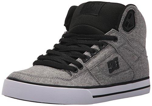 DC Men's Spartan HIGH WC TX SE Skate Shoe, Black/Heather Grey, 8 D US