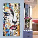 DIY 5D Diamante Pintura por Números Kit rostro de belleza abstracta completo Square Taladro Diamond Painting Grande Bordado Punto de Cruz Art Crafts Decor de pared del hogar(50x100cm,20x40in)