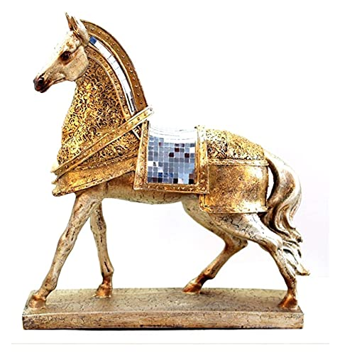 YANRUI Tierstatue Skulptur Gold Gepanzerte Krieg Pferd Statuette Büro Desktop Dekoration Zubehör Anzeigen Requisiten Dekoration Ornamente Geschenke (Color : Armored Warhorse)