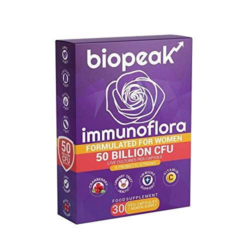 Biopeak Immunoflora 50 Billion CFU | for Women | Boost Immunity & Urinary Tract Health | with Cranberry, Vitamin C | Prebiotics | 9 Probiotic Strains - 30 caps