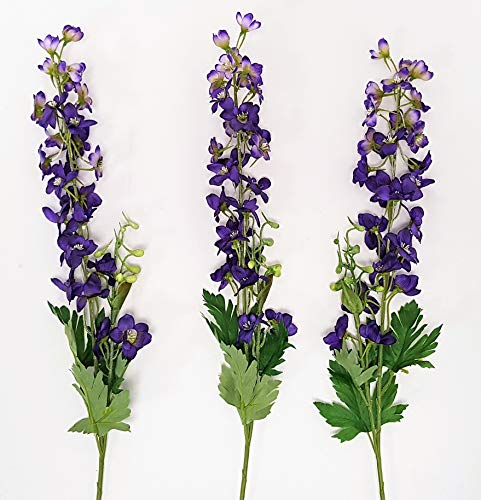 FS Lot de 3 tiges de Fleurs de Delphinium artificielles Violet 76 cm