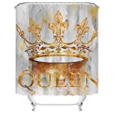 Queen Duschvorhang Golden Crown mit Queen Schriftzug Stoff Vorhang für Badezimmer Dekor Set mit Haken 183 x 183 cm