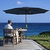 SERWALL Navy Patio Umbrella Outdoor Table Umbrella -9 FT Market Umbrella with 8 Sturdy...