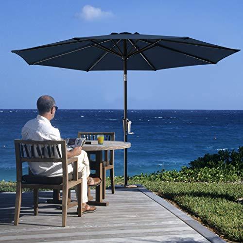 SERWALL 10FT Patio Umbrella, Outdoor Table Umbrella with 8 Sturdy Ribs Market Umbrella with Push Button Tilt/Crank for Garden, Lawn, Market, Pool, Deck, Backyard (Navy)