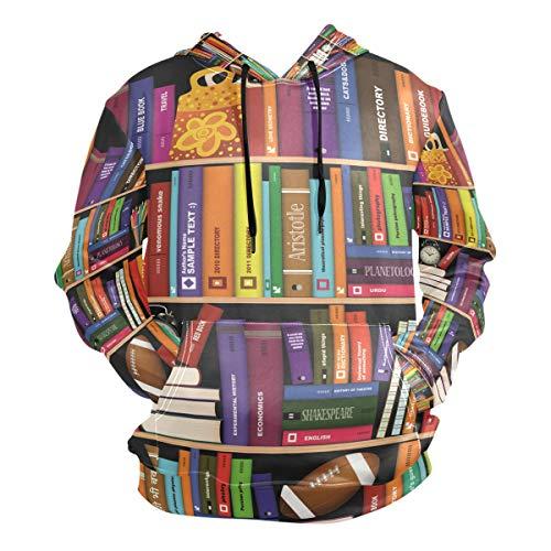 DEZIRO Kleurrijke Boekenplank Herenherfst Winter Hoodie Lange Mouw Fleece