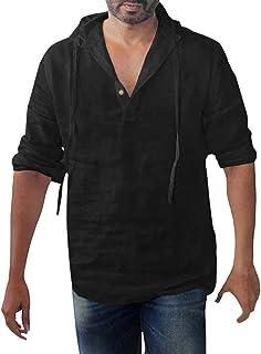 Camisa Camisas De Para Camiseta Lino Hombres Jerseys Para Tamaños Cómodos Hombres Blusa Con Capucha Casual Camisas De Mang...