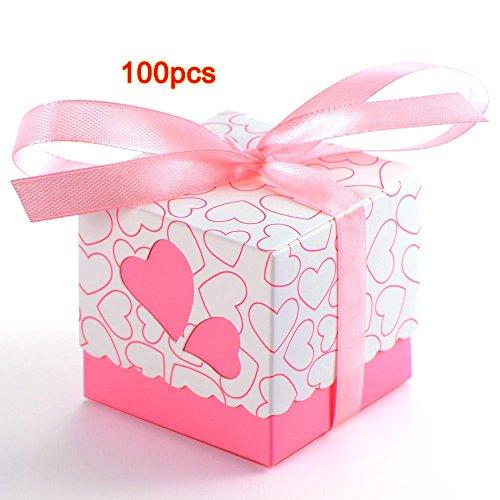 100x Boite A Dragee Mariage Marie Coeur Bapteme Decoration Table Ruban Rose