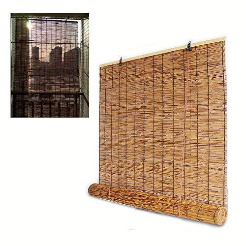 XYNH Raffrollo Holzrollo Für Fenster,Rollo Holz Mit Seitenzug,ohne Bohren,Einfache Montage,Bambus-Rollo Natur,Natürliche Kakao,70 Breite,Anpassbar