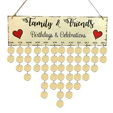 Family Birthday Calendar Inkach Wooden Calendar DIY Wall Birthday Reminder Board Hanging Plaque (D)