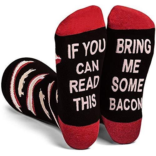 Wein Socken/Kaffee Socken, Lustige Socken Geschenk für Frauen zum Weihnachten, Geburtstagsgeschenk für Freundin, If You Can Read This Bring Me Some Bacon