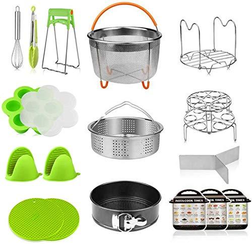 Pressure Cooker 18In 1 Accessories Set for Instant Pot Includes Vegetable Steamer Basket, Spring Form Pan, Egg Steamer Rack, Dish Clip, Steam Rack Trivet Magnetic Cheat Sheets.