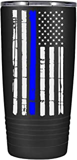 Thin Blue Line Flag - Police Law Enforcement PD Gift for Academy Graduation on Black Matte 20oz Tumbler
