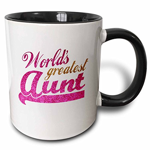 3dRose Worlds Greatest Aunt Mug 11 oz Black