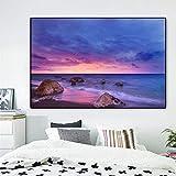 NIMCG Paisaje de Roca Carteles e Impresiones Lienzo Puesta de Sol Mar Natural Playa y Pintura Mural Muebles de Sala Imágenes 30x45CM (Sin Marco)