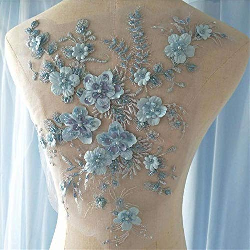 French grey 3D lace fabric with 3d flowers, heavy bead lace fabric, beading lace fabric by the yard for haute couture,light blue