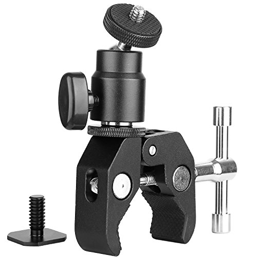 ChromLives Camera Clamp Mount Ball Head Clamp - Super Clamp and Mini Ball Head Hot Shoe Mount Adapter with 1/4'-20 Tripod Screw for LCD/DV Monitor, LED Lights, Flash Light,Microphone and More