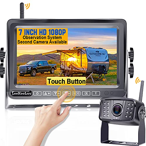 LeeKooLuu F06 HD 1080P Digital Wireless Rear View Camera with 7'' Touch Button Monitor High-Speed Observation System 170° Wide View Angle Night Vision Backup Camera for RVs,Trailers,Bus,Motorhome