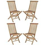 Wholesaler GmbH 4er Set Klappstühle Hochlehner Gartenstühle aus Teak-Holz Natur für Balkon Garten