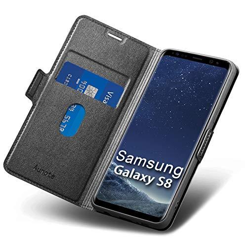 Funda Samsung Galaxy S8,Fundas Samsung S8 Libro, S8 Funda,Carcasa S8 con Cierre Magnético,Tarjetero y Suporte, Capa S8 Plegable Cartera,Flip Folio Phone Cover Case,Tipo Étui Piel Protección.Negro