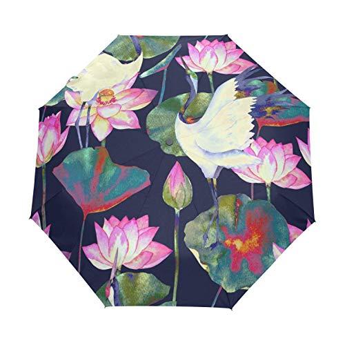Kleiner Reiseschirm Winddicht im Freien Regen Sonne UV Auto Compact 3-Fach Regenschirm Abdeckung - Teich Vogel Kranich Blume Nahtloses Muster