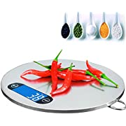 AnGeer Küchenwaage, Edelstahl Digital Küche Kochen Ebene, mit Runde Form, Backlit LCD, Slim Design (Inklusive Batterien) ks2-25