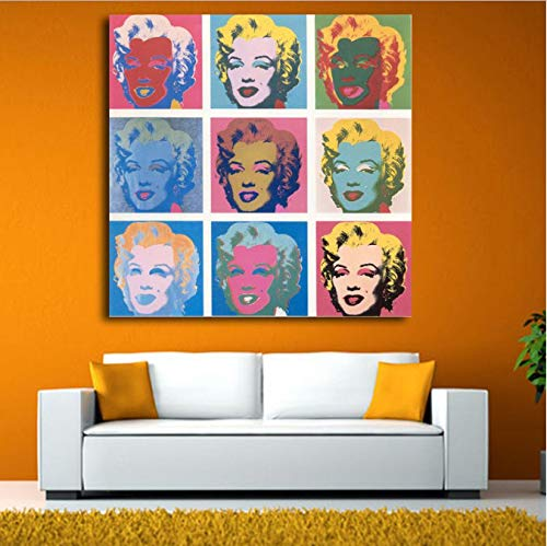 yhnjikl Canvas Painting Home Decor 1 Piece Andy Warhol Marilyn Monroe Pictures Print Abstract Graffiti Poster Living Room Wall Art Frame 50x50cm Ohne Rahmen