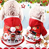 Dusenly Traje de Perro de Santa Claus Abrigo con Capucha de Invierno Abrigo Conjunto de Traje de Vacaciones de Navidad (S)