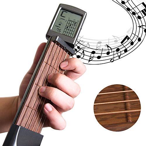 Dr.Taylor Mini-Gitarren-Akkordtrainer, Tragbares 6-Fret-Gitarren-Übungswerkzeug für Anfänger, Elastisch Einstellbar - Akkordtabellenbildschirm