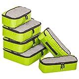 ZOMAKE Packwürfel Set,Kleidertaschen Packtaschen 6-teiliges,ltra-leichte Koffer Organizer Set Ideal für Seesäcke, Handgepäck und Rucksäcke Grün