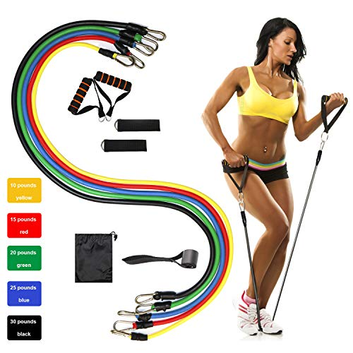 Bandas Elásticas, Gomas Elásticas Musculacion Multicolor Kit 11 PCS, 5 Tubos de Látex/Manijas/Ancla de Puerta/Correas de Tobillo/Bolsa de Transporte para Fitness, Yoga, Rehabilitación