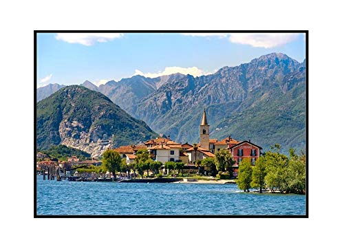 Stresa Village, Piedmont Region, Italy - Fishermen's Island on Lake Maggiore 9010678 (18x12 Framed Gallery Wrapped Stretched Canvas)