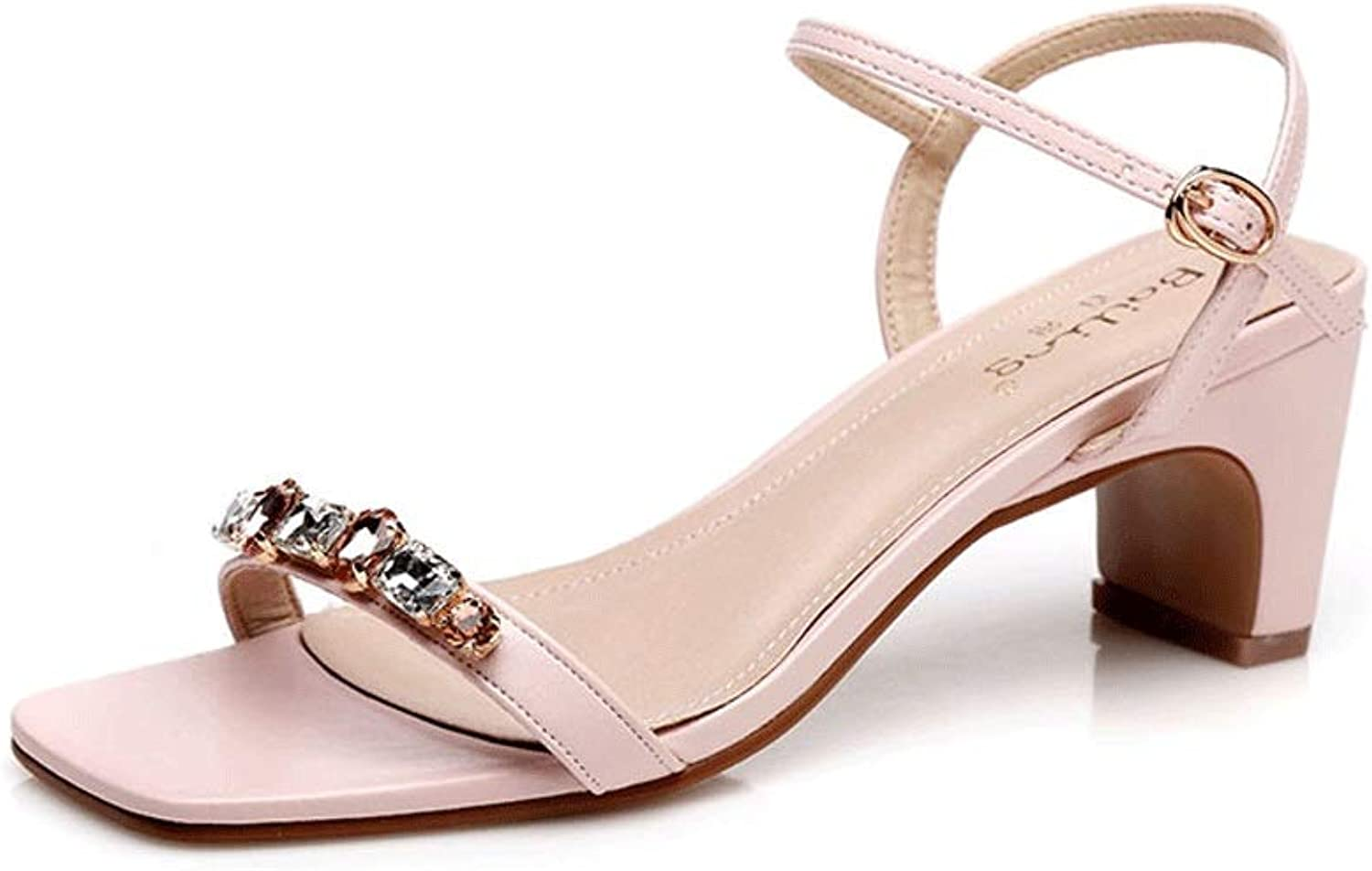 New Women's Sandals Thick with A Buckle with High-Heeled Bent with Small Square Head Small Size Women's shoes with High-Heeled Sandals