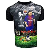 Messi Photo Jersey for Kids, Licensed Barcelona Lionel Messi Photo Shirt (Youth Large 10-12 Years) Black