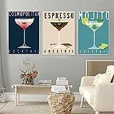QJIAHQ Vintage Bar Decor Mojito Poster Espresso Cocktail