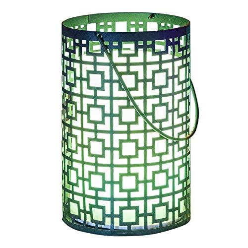 Lanterne sans fil orientale moucharabieh métal LED blanc/multicolore dimmable JOY C20 H23cm avec télécommande et socle à induction