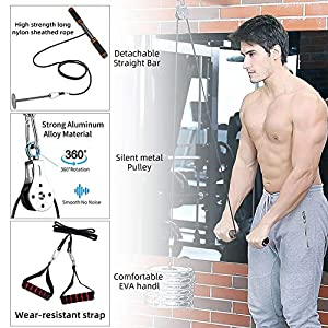 Forearm Wrist Roller Trainer, Arm Strength Training Exerciser with Heavy Duty Pulley System for LAT Pulldowns, Bicep Curls, Triceps Extensions Fitness Workout Professional Equipment
