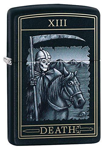 Zippo Death Card Design Black Matte Pocket Lighter, One Size