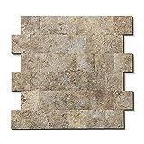 Backsplash Peel and Stick PVC Tile, Stickon Tile for Kitchen Backsplash, Bathroom Vanities, Fireplace Décor, Laundry Table, Stair Decals in Ecru Slate (12' X 12', 5 Sheets)