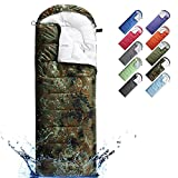 Sleeping Bags for Adults, Teens & Kids - Use for 3-4 Seasons, Warm & Cold Weather - Lightweight, Portable, Waterproof, Use for Backpacking, Hiking and Camping (Army Green Camouflage/Left Zip)