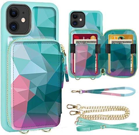 iPhone 11 Wallet Case, ZVE iPhone 11 Crossbody Case with Credit Card Holder Handbag Purse Wrist Strap Zipper Leather ...