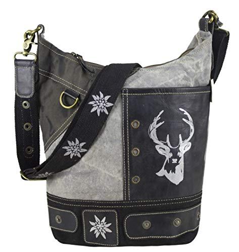 Domelo Tracht kleine Damen Trachtentasche Dirndltasche Vintage Tasche Umhängetasche Schultertasche Handtasche Canvastasche Oktoberfest Wiesn traditionell grau schwarz