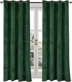 Comforhome Solid Soft Velvet Window Curtain Grommets Drapes Dark Green 52