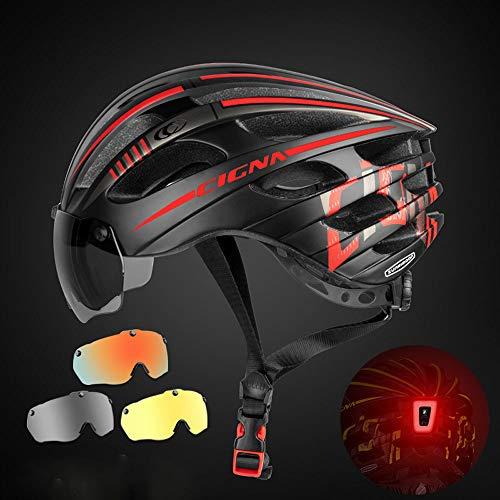 Fahrradhelm,verstellbarer leichter Helm für erwachsene Frauen Männer,mit elektromagnetischer Sonnenblende,LED-Helm Rücklicht 52 ~ 60 cm,Outdoor Sports Safety Ultraleichtes verstellbares Kinnpolster