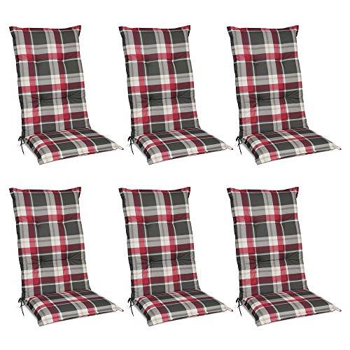 Beautissu 6er Set Sunny RK Hochlehner Auflagen Set für Gartenstühle 120x50 cm Polster in Rot Kariert - Bequeme Gartenstuhl Stuhlkissen...
